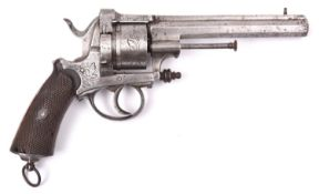 A Belgian 6 shot 12mm Francotte type closed frame double action pinfire revolver, c 1867,