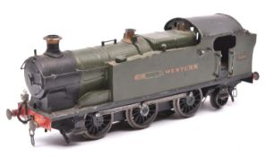 An O gauge coarse scale GWR 56xx 0-6-2T locomotive for 3-rail running. A kit-built white metal and