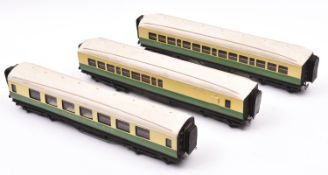 3x O gauge coarse scale LNER corridor coaches. Kit-built bogie coaches with brass etc bodies on