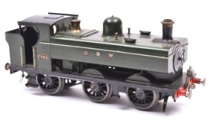 An O gauge coarse scale GWR 57xx 0-6-0PT locomotive for 3-rail running. A kit-built brass loco in