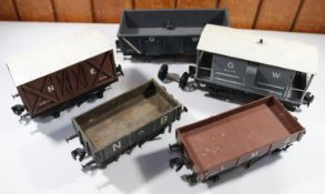 5x Gauge One coarse scale kit-built freight wagons. A GWR guard's van. An NER box van. A GWR open