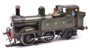 An O gauge coarse scale GWR 48xx 0-4-2T locomotive for 3-rail running. A kit-built white metal and