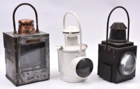 3x Railway Lamps. A square BR(S) steel and copper lamp by 'Lamp Manufacturing & Railway Supplies