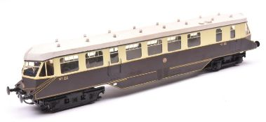 An O gauge Rivarossi GWR streamlined railcar, No.22. Brass body in chocolate and cream livery with