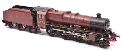 An O gauge coarse scale LMS Jubilee Class 4-6-0 tender locomotive for 3-rail running. A kit-built