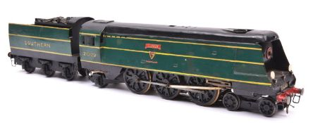 An O gauge coarse scale Southern Railway West Country Class 4-6-2 tender locomotive for 3-rail