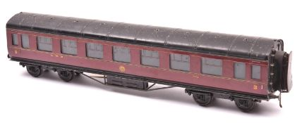 An O gauge LMS corridor coach by Exley. A Full Third, 2039, in lined maroon livery. QGC-GC, some