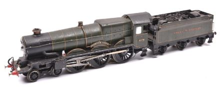 An O gauge coarse scale GWR Castle Class 4-6-0 tender locomotive for 3-rail running. A kit-built