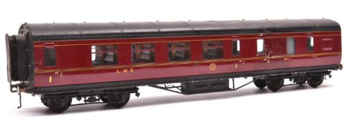 An O gauge LMS corridor coach by Exley. A Brake First in lined maroon livery. QGC-GC, some running
