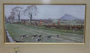 "After Cecil Aldin (1870-1935), ""The Cheshire Hounds (away for Tattenhall)"", limited edition colour"
