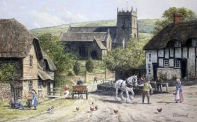 "John Lewis Chapman (b1946), ""Okeford Fitzpaine Dorset"" with St Andrews Church in the Background,"