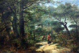 Benjamin Callow (British, active 1851-1869), A Woodland Walk, oil on canvas, 54.5cm x 37cm,