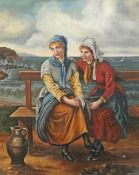 19th Century/20th Century School, Fishermen's Wives seated on shoreside bench, oil on canvas, 39cm x