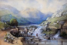 19th Century School, mountain landscape with cattle and fishermen, watercolour, 80cm x 56cm,