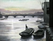"Steven Scholes (b1952), ""Blackfriars Bridge From Queenhithe Dock City of London 1962"", oil on"