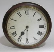 A single fusee wire driven round wall clock, total diam. 36.5cm. Condition: dial with minor marks