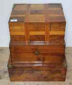 A group of three 19th century boxes comprising a parquetry box with brass corner mounted hinges, a