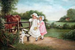 Reuben Hunt (1879-1962), children and dog crossing a stile into a field with cows, oil on canvas