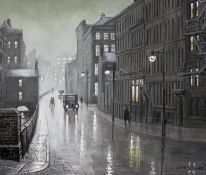 "Steven Scholes (b1952), ""Canal St Manchester 1962"", oil on board, 29.5cm x 24.5cm, signed lower"