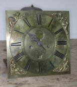 An 18th century Cumbrian single finger long case clock movement and dial, four pillar, striking on