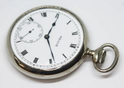 A chrome plated Revue pocket watch, white dial with Roman numerals and seconds subsidiary dial, 15