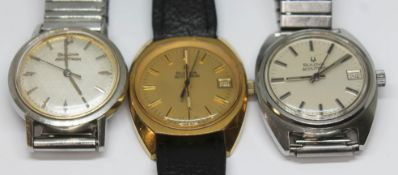 Three vintage Bulova Accutron wristwatches, comprising a gold plated cushion case ref. 3-922924, a