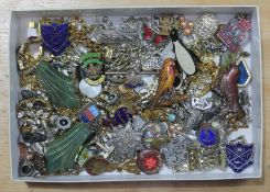 A box of costume jewellery including animal brooches, silver, micro mosaic, badges etc.