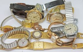 A mixed lot of vintage watches including Lusina, Rotary, Smiths, Bulova, a bangle watch etc.