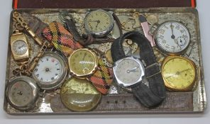 A mixed lot of watches including a ladies hallmarked 9ct watch, a trench type watch, together with