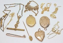A mixed lot of hallmarked 9ct gold, yellow metal and gold plated jewellery, gross wt. 33.20g.