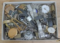 A tray of mixed wristwatches, pocket watches, cases and movements.