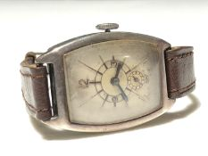A 1930s hallmarked silver cased wristwatch with art deco style dial, seconds subsidiary at 6 o'