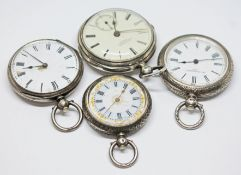 A group of four silver pocket watches including one signed Charles Winter, Preston.