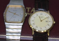 Two gent's quartz wristwatches: a gold plated Rotary with 18mm Hirsch leather strap and Rotary box