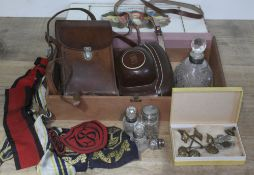 A mixed lot comprising a Zeiss Ikon and a Kodak, four hallmarked silver topped/collar bottles,