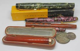 A mixed lot comprising a Croxley fountain pen with nib marked '14ct gold', another vintage