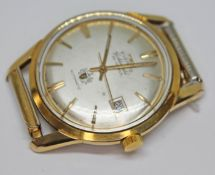 A 1960s gold plated Technos automatic wristwatch with champagne dial signed Everite Goldshield, gold