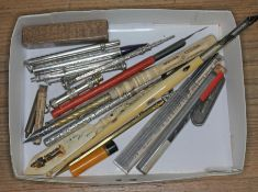 A quantity of propelling pencils and pens including hallmarked silver, Japanese, Stanhope etc.