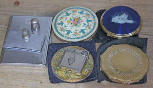 A mixed lot comprising four vintage compacts, a lighter, a cigarette case, a stamp case and a