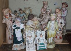A group of ten continental and other 19th century and later porcelain figures, tallest 33cm,