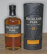 Highland Park 12 years old single malt Scotch whisky, 40% 70cl, sealed, level low neck, boxed.