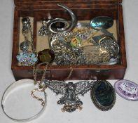 Jewellery box with some silver jewellery etc.