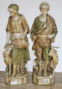 A pair of of Royal Dux figures, Shepherd and Shepherdess, model numbers 1115 & 1116, heights