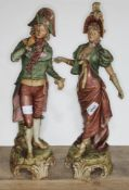 A pair of Royal Dux figures of Coutiers in 18th century dress, model numbers 113 & 114, heights 45cm