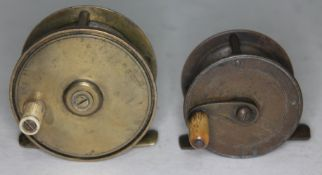 Two Vintage brass fishing reels including W.R.Pape