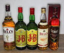 Five bottles of blended Scotch whisky comprising Bell's 1ltr, 2x Justerini & Brooks Rare blend