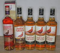 Five bottles of The Famous grouse blended Scotch whisky, 40% 70cl, sealed, level mid neck, Mellow