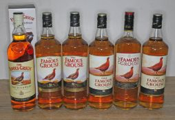 Six bottles of The Famous Grouse blended Scotch whisky, 40% 1ltr, all sealed, levels mid neck to