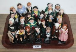 25 small Royal Doulton figures from Dickens stories, and a small Winston Churchill character jug.