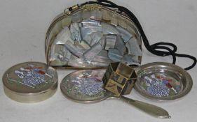 Vintage art deco style lucite handbag, brass napkin ring and 3 piece enamel vanity set.